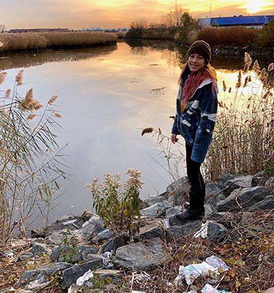 Emily sampling at Berrys Creek